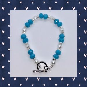 Blue Faceted, White Pearl and Silver Bracelet